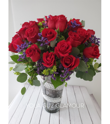 Purple Red Passion in Channel Vase