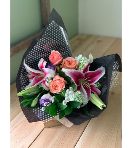 Designer Style Hand-tied Wrapped Bouquet