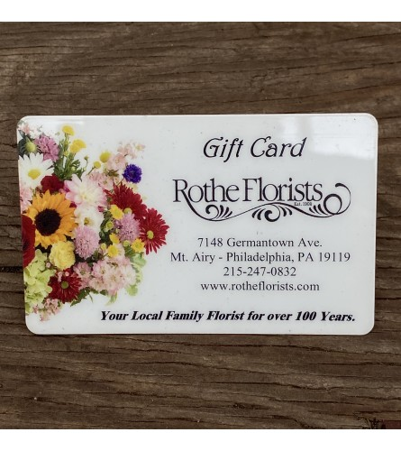 Rothe Florists Gift Card - $50, $75, or $100