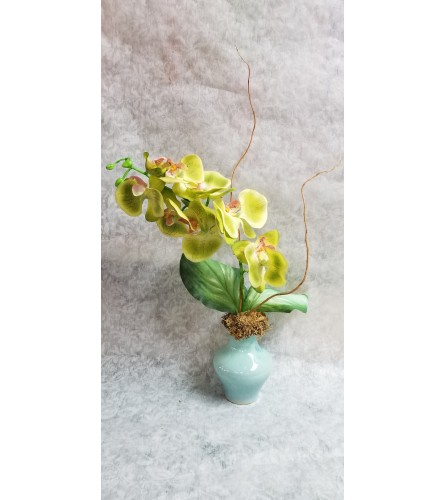 Silk Cymbidium Orchid Plant