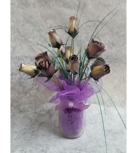 Purple wooden Rose arrangement