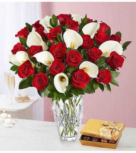 Red Roses With Calla Lilies And Chocolates