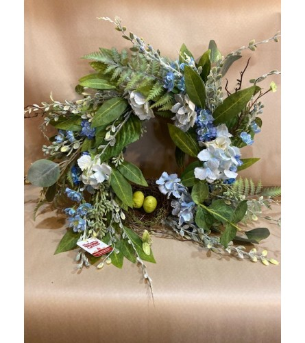 Blue Hydrangea and Nest Wreath