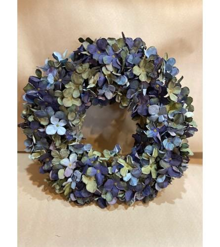 Shades of Blue hydrangea wreath