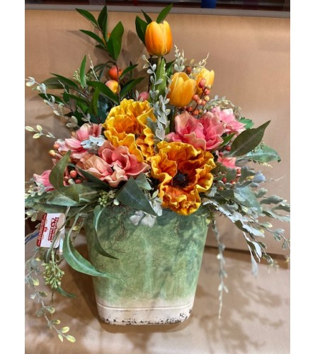 Large Green Metal Wall Tin with pink & orange Silk Flowers