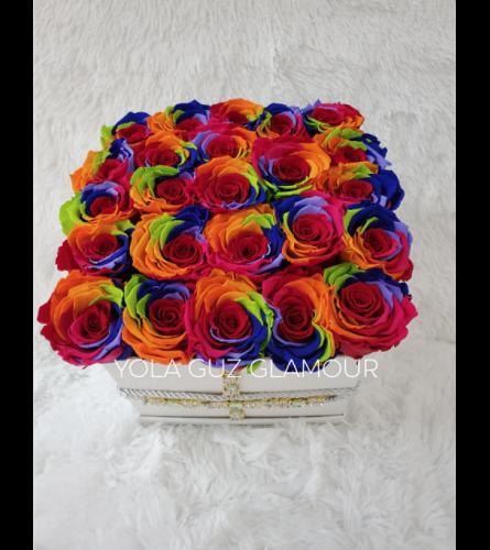Rainbow Preserved Roses