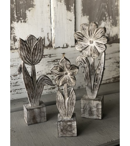 Faux Carved Wood Flower Set