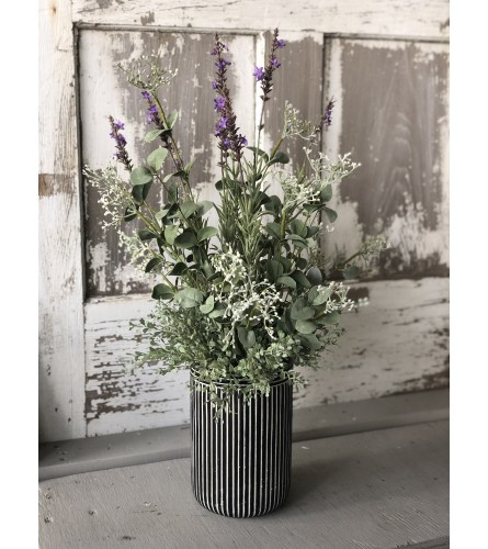Tuxedo Vase with Silk Spray