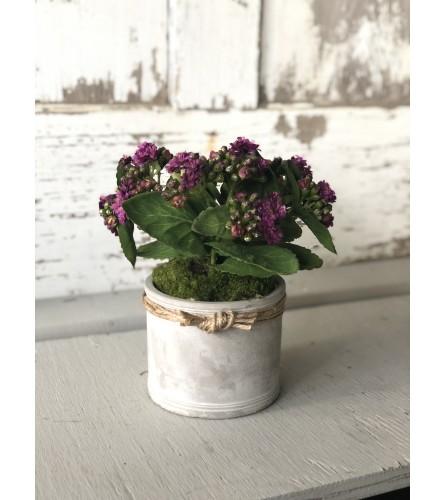 Sculpted Cement Vase Arrangement - Purple