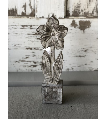 Faux Wood Carved Flower - Small
