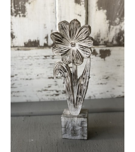 Faux Wood Carved Flower - Large