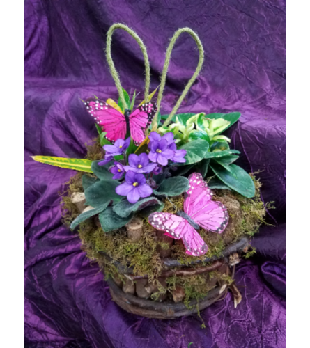 RUSTIC LIVEBASKET WITH BUTTERFLIES AND MOSS