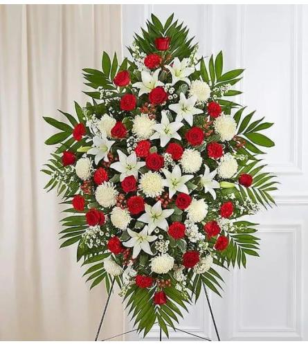 Red And White Standing Spray Tribute