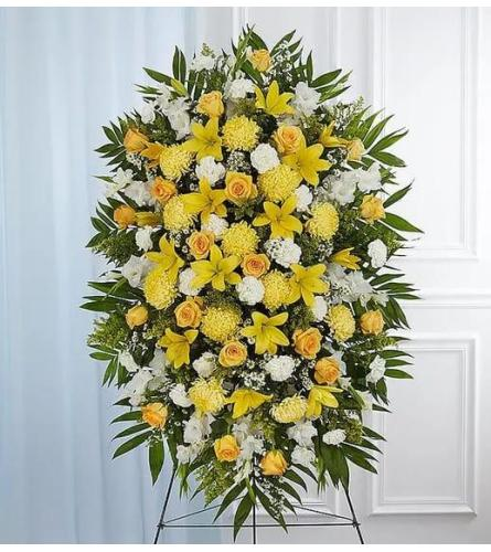 Yellow and White standing Spray Tribute