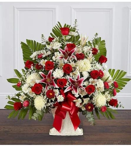 Red and White Basket With Lilies and Roses