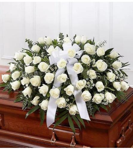 Casket Spray White Roses