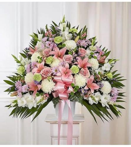 Pink And White Tribute Basket