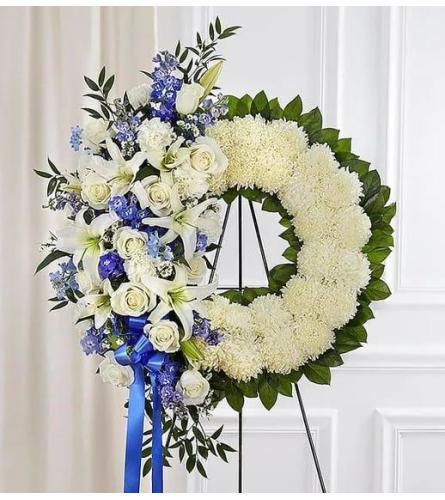 Blue and White Sympathy Wreath Asymmetric