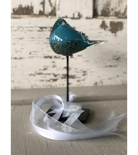 Tall Glass-Spun Blue Bird