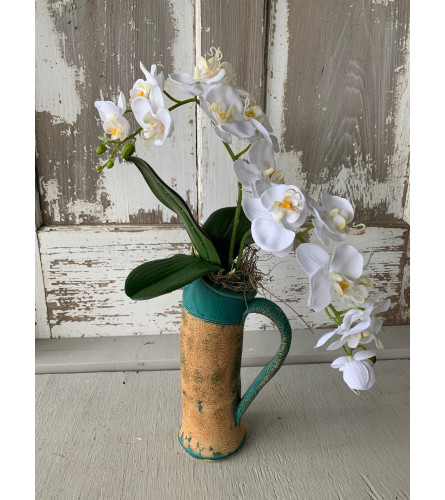 Tina Doorn Custom Pottery with Orchid
