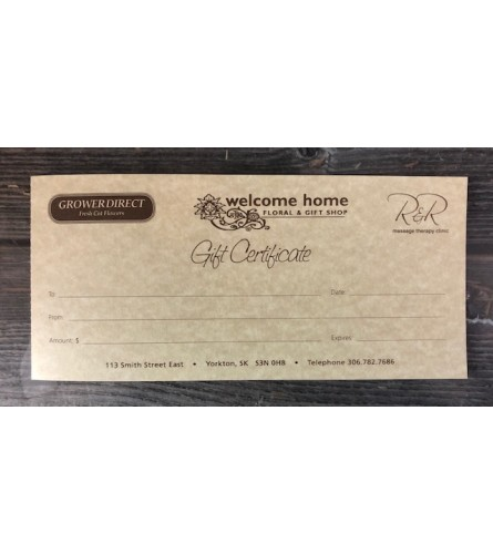 The Oh, So Many Options Gift Certificate