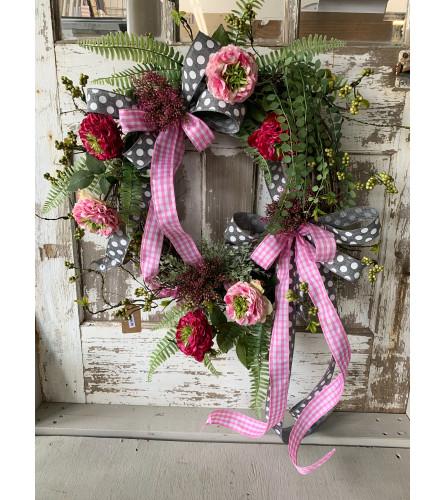 Pink & Gray Ribbon Adorned Wreath
