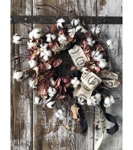 Farmhouse Wreath - Cotton & Hydrangea