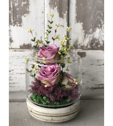 Open Apothecary Jar with Roses