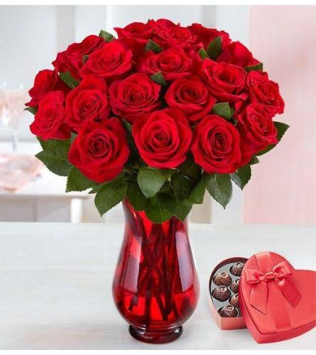 Two Dozen Red Roses And Chocolate