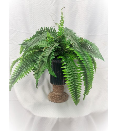 Artificial Boston Fern Plant in Stone Urn