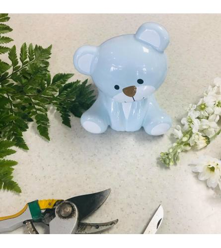 Custom Artist Design in Blue Ceramic Baby Bear