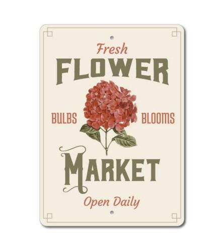 Fresh Flower Market Open Daily Sign