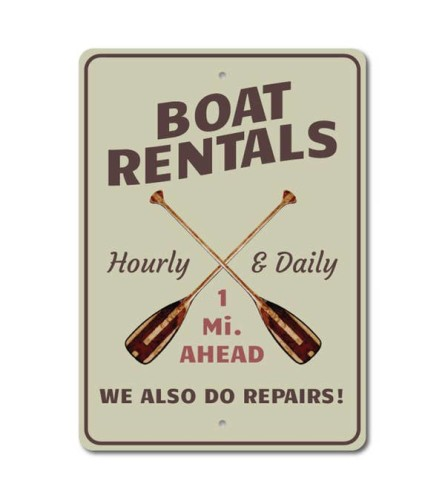 Boat Rental Mileage Sign
