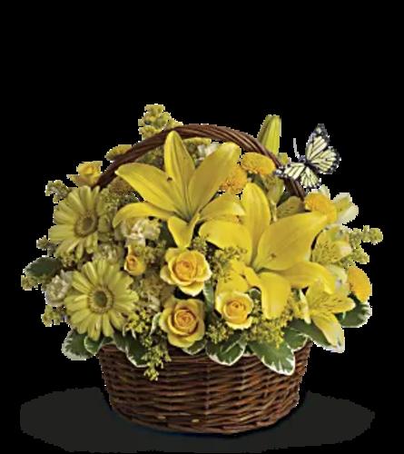 Basket of Yellow flowers