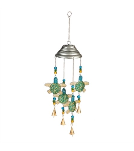 Glass and Metal Beaded Turtle Wind Chime