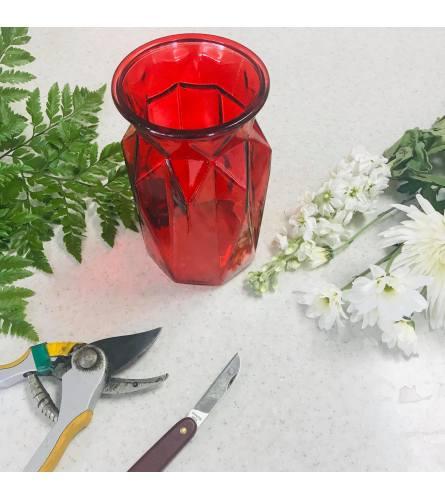 Designer's Choice in Red Glass Vase