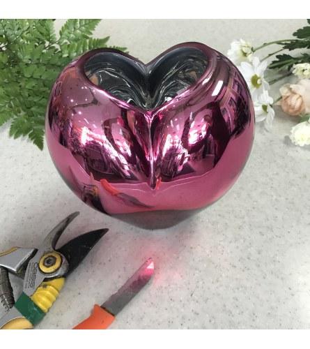 Designer's Choice in Metallic Heart Vase