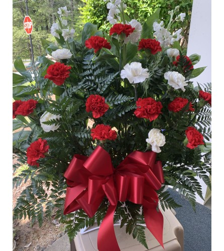 Sending love in Red and White Sympathy Basket