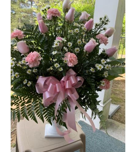 Pink White Pedestal Arrangement