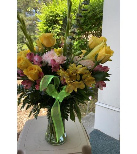 Pink and Yellow Vase Arrangement