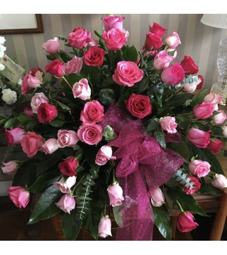 'Shades of Pink Roses Half Couch Casket Spray