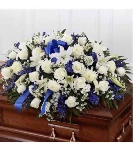 All Blue and White Rose Half Couch Casket Spray