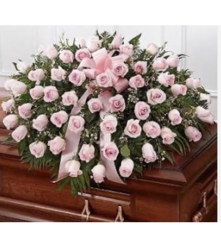All Pink Rose Half Couch Casket Spray