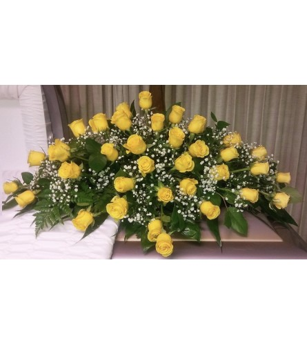 All Yellow Rose Half Couch Casket Spray