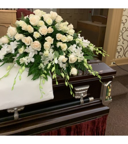 All WHITE roses and orchids Casket Spray