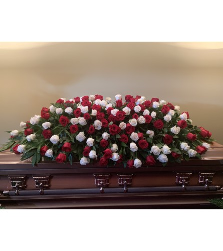 FULL Couch Red and White Casket Spray
