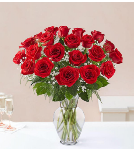 2 Dozen Red Rose Vase