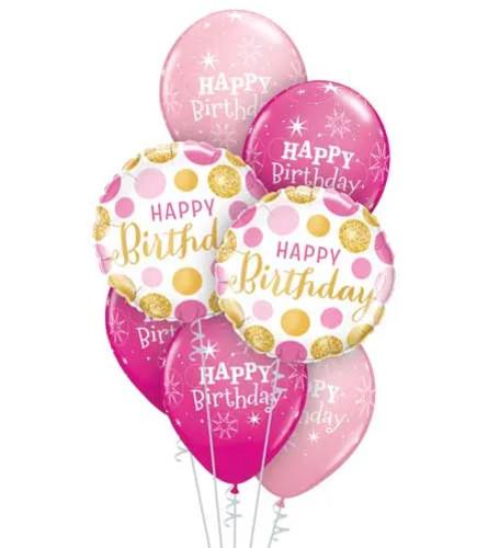 Happy Birthday Pink & Gold Dots