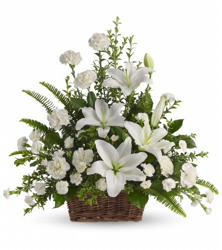 Peaceful White Lilies In  Basket