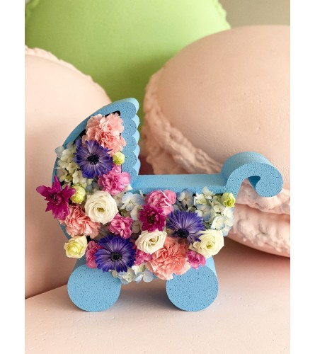 Blue or Pink  Baby Carriage Boxed Flowers